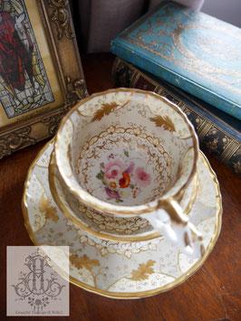 427. サミュエル・オールコック/ダブグレーと花絵のトゥルートリオ(英1838-1845)