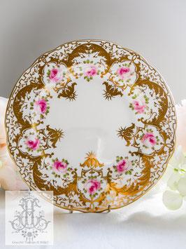 359. ウェッジウッド/レイズド・ゴールドとローズの大皿26cm(英1891-1909)