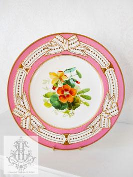 345⑥ リボン&ピンクの手描きボタニカル約23cmプレート(英1860年頃)