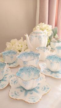 シェルシェイプ パラダイスパターン ターコイズブルー コーヒーセット