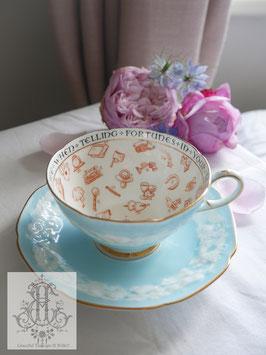 432②パラゴン紅茶占いカップ 珍しいスカイブルーに白モクモク(1930年代)
