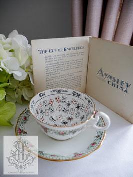 429. エインズレイ/トランプ柄紅茶占いティーカップ+オリジナル説明書(英1920-30年代)