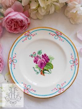 406. ②ミントン/リボンとジュール総手描き 紫の花23cmプレート(英1857年頃)