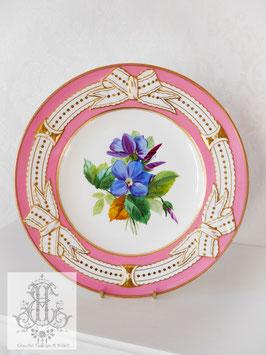 345⑤ リボン&ピンクの手描きボタニカル約23cmプレート(英1860年頃)