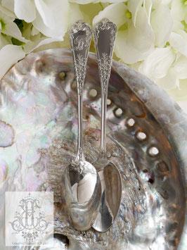 387. 2本セット:フランス製/銀のリボン・花・モノグラムのデザート/ティースプーン(14.8cm/仏1900年前後)