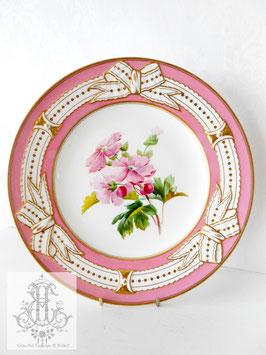 274➂ リボン&ピンクの手描きボタニカル約23cmプレート(英1860年頃)