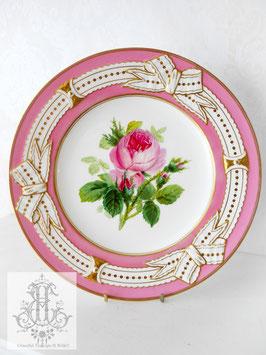 274⑤ リボン&ピンクの手描きボタニカル約23cmプレート(英1860年頃)