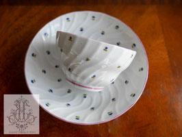180.ピンクボーダーとコーンフラワーのティーボウル(英1800年頃)Pink Rimmed Teabowl