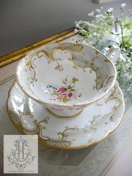 227. リッジウェイ曇り空とローズのティーカップ(英1830-1855)