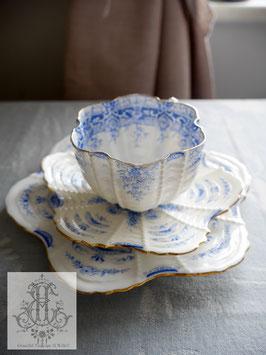 411. ワイルマン/パラダイスパターン・シェルシェイプ・青のトリオ(英1800年代末)