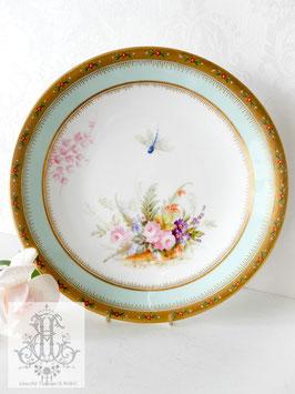 278. ロイヤルウースター/青い蜻蛉と華絵の飾り皿23cm(英1877)