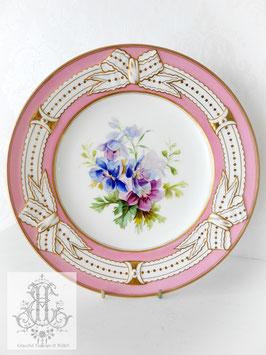 274② リボン&ピンクの手描きボタニカル約23cmプレート(英1860年頃)