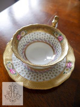 217-1 コウルドン/アシッドゴールド装飾ティーカップ&ソウサー(英1906-1920)