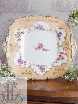 187. ヴィクトリアン柑子色スクエアプレート Victorian Peachy B&B Plate