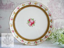 229-2. コウルドン/黄色&ピンクローズの21cm皿(英1906-1920)