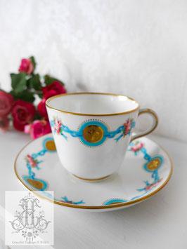 339. ミントン/フルール・ド・リスと青いリボンとローズのカップ(英1800年代)