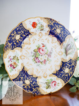 263. オールハンドペイント/ロココ藍と華絵の26cm大皿(英1830年頃)