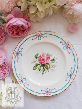 406. ミントン/リボンとジュール総手描き ピンクの薔薇23cmプレート(英1857年頃)