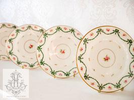 175. コールポート 緑のリボンとローズのお皿5枚セット約15cm(英1891-1920年頃)5×Coalport Green Ribbon Plates