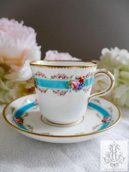 374. ミントン/野花のガーランドとターコイズのカップ(英1800年代後期)