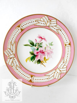 274① リボン&ピンクの手描きボタニカル約23cmプレート(英1860年頃)