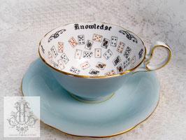 328②. エインズレイ/水色トランプ柄・紅茶占いティーカップ(英1920-30年頃)