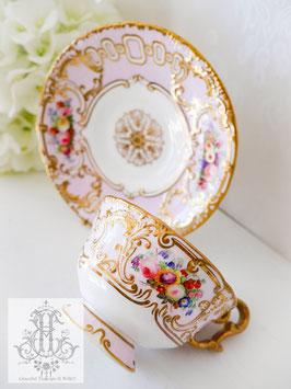 284. コープランド&ギャレット/薄桜色の総手描きティーカップ(英1840年頃)