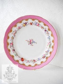 241. 花紋とローズピンクの大皿(英1800年代後期)