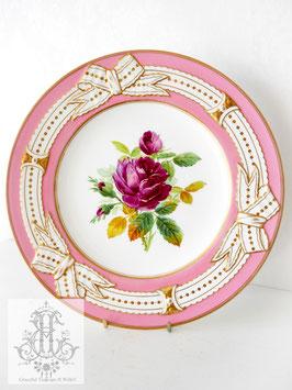 274④ リボン&ピンクの手描きボタニカル約23cmプレート(英1860年頃)