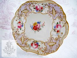 196. ハマースレイ/ハンドペイント淡藤色のプレート(英1800年代)All handpainted perple floral plate c.19 century