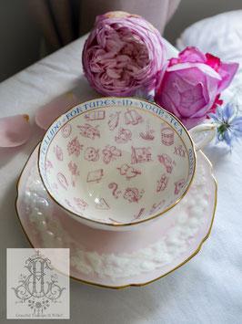 432①パラゴン紅茶占いカップ パステルピンク白モクモクに内側フーシャピンク(超レア/1930年代)