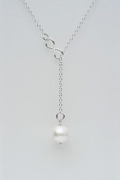Perlenkette mit INFINITY oder HERZ Symbol