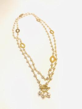 Collana rosario con inserti in argento dorato satinato