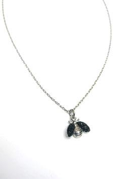 Bee girocollo argento rodiato e zirconi neri