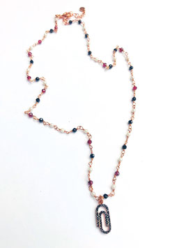 collana rosario con ciondolo graffetta con zirconi