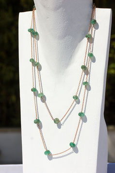 JUDY collana argento oro rosa e giada verde