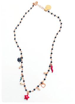 collana rosario con ciondoli portafortuna