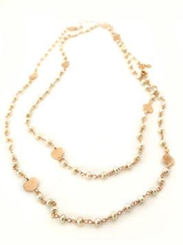 Collana lunga in rosario e cuori argento