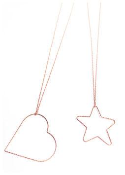 collana cuore e stella argento diamantato