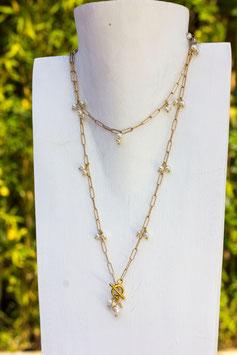 perle di fiume e catena ankor in argento placcato  oro 18 k