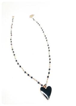 collana rosario con ciondolo cuore smalto nero grande