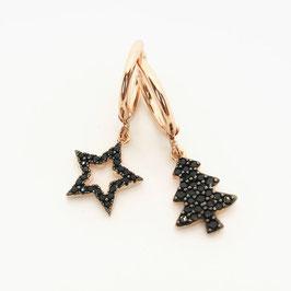 Natale cerchio a scatto con charms zirconi neri Stella e Abete