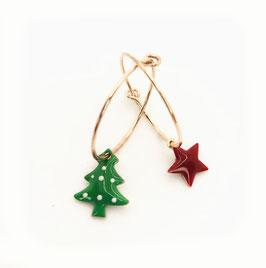 Natale Orecchio fine 20mm Albero verde  e stella rosso scuro