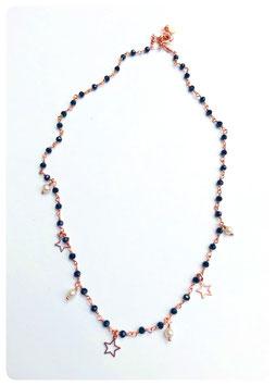 collana rosario con stelline vuote e perle