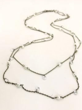 Collana in argento brunito perle e zirconi