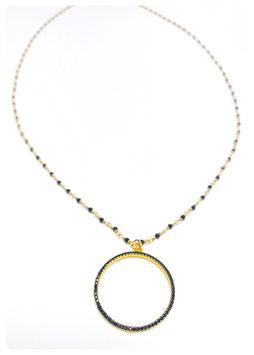 collana rosario con ciondoli cerchio zirconi
