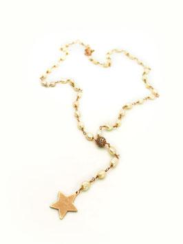Collana in rosario con perle ovali e pendente stella