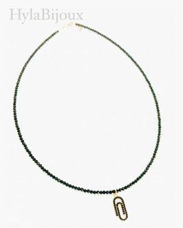 collana serpillo nero con ciondolo graffetta con zirconi