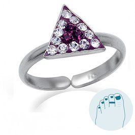 Silver Toe Ring Purple Triangle