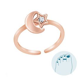 Zilveren Teenring Moon and Shiny Star Rosé Gold